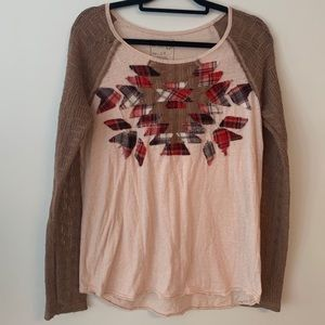 Free People Knit Sleeves Aztec Patch Boho Top